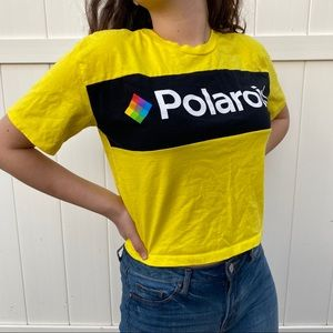 Polaroid yellow top blouse size M crop top